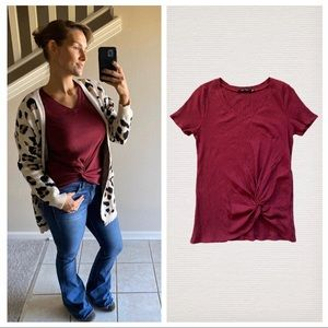 Doe & Rae Wine Twist Front V Neck Ribbed Top Small